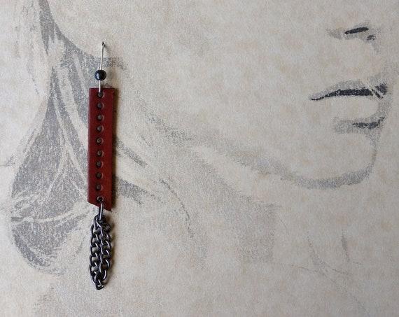 Saddle Tan Pierced  Leather Dangle Earrings