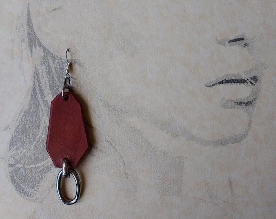 Saddle Tan  Leather Dangle Earrings