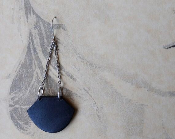 Minimalist Black Leather Drop Earrings