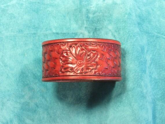 """1.5"""" Wide Flower Over Basket Weave Leather Bracelet"""