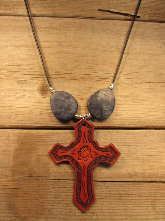 Leather Rose-Cross Pendant with Gem Stones on Leather Cord Necklace