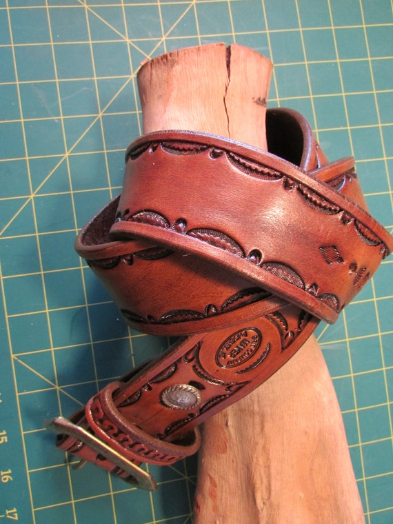 "1.75"" Wide Hand-Tooled, Heavy-Duty, Leather Belt"