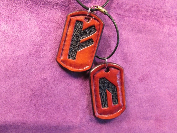 Carved Leather Rune Tags: FEHU and URUZ