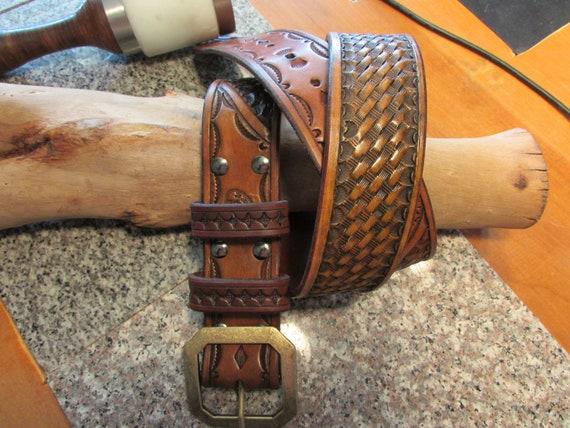 """1.75"""" Wide, Basket Weave / Border Pattern Leather Belt"""