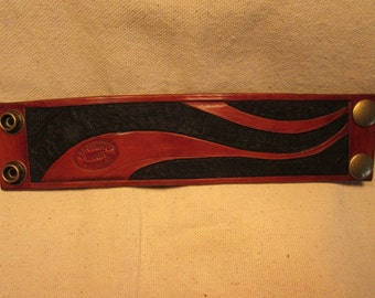 """2"""" Wide, Hand Tooled, Leather Wave Cuff"""