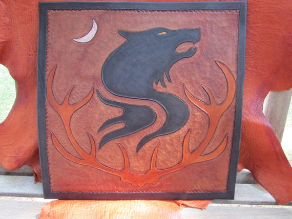 Leather Wall Hanging:  Crescent Moon Antler Wolf