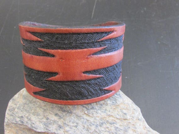 "2"" Wide Hand Carved Leather Cuff"