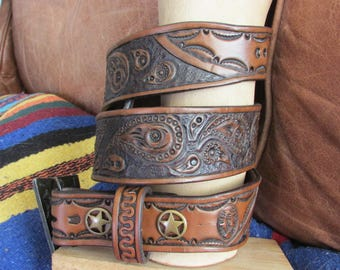 "1.75"" Wide, Hand Carved, Paisley Pattern, Antique Brown, Custom Leather Belt"