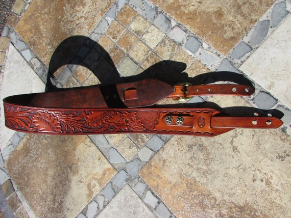 """2.5"""" Wide, Hand Carved, Classic Style, Leather Guitar Strap, Fits 48"""" to 54"""""""
