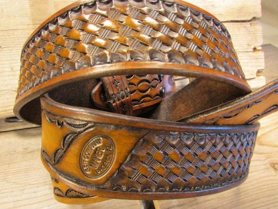 """1.75"""" Wide, Basket-Weave Leather Service Belt"""