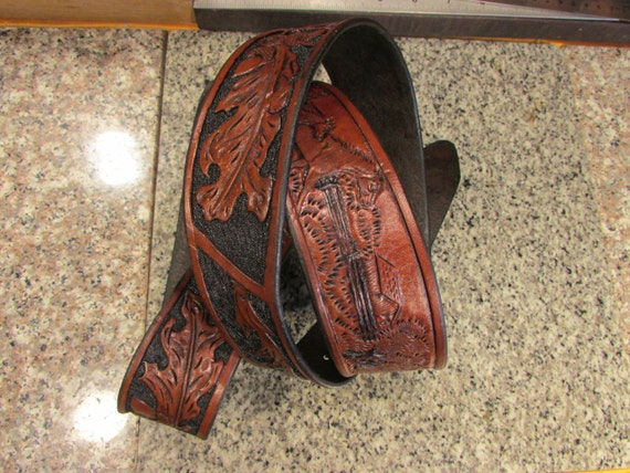"Hand Carved, 1.75"" Wide Leather Belt; Oak Leaves, Acorns & Horses"