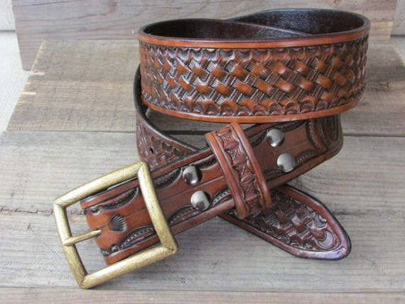 "1.75"" Wide, Hand Tooled, Heavy Leather Basketweave Belt"
