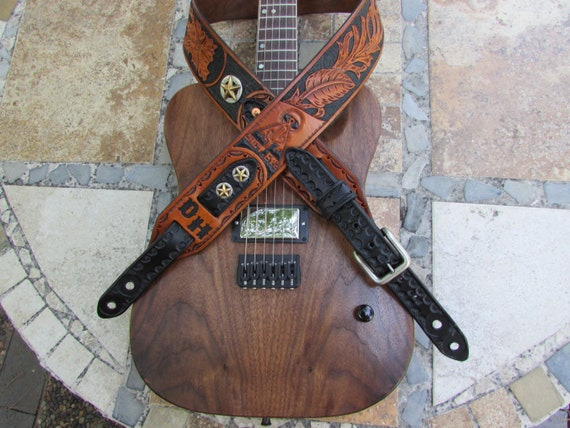 "2.5"" Wide, Hand Carved, Leather Guitar Strap"