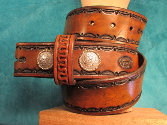 "1.75"" Leather Belt w/ Hand Tooled Border"