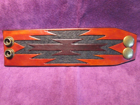 """2"""" Wide, Hand Tooled Leather Cuff"""