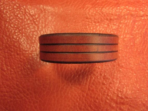 """3/4"""" Wide Karmic, Mahogany Leather Bracelet"""