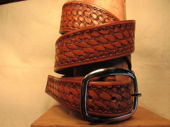 """1.75"""" Wide, Western Style, Basket Weave, Leather Belt"""