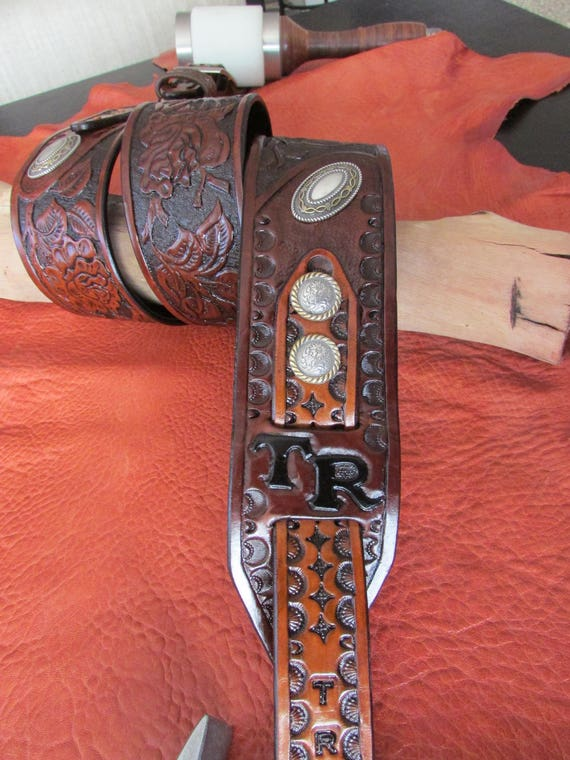 "2.5"" Wide Guitar Strap, Hand Carved Rose Pattern w/ Initials and Conchos"