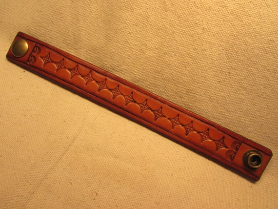 "1"" Wide Hand Tooled Leather Bracelet"