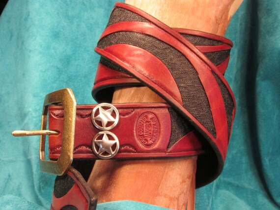 """1.75"""" Wide, Hand Tooled, Leather Wave Belt"""