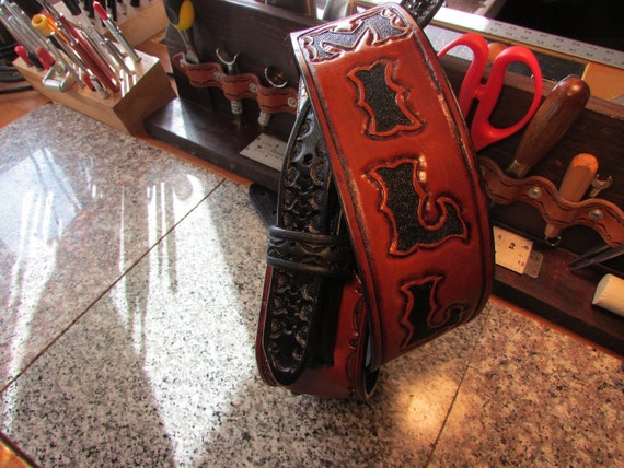 """2.5"""" Wide, Hand-Carved Leather Guitar Strap"""