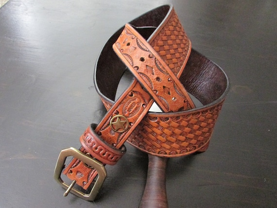 "2.5"" Wide, Heavy Leather, Hand Tooled Gun Belt"