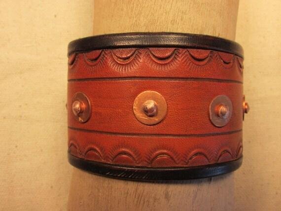 """2"""" Wide, Heavy Duty (10 oz. ) Leather Cuff Bracelet"""