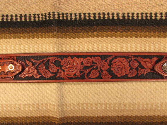 "2"" Wide, Hand Carved Leather Guitar Strap: Rose Pattern"