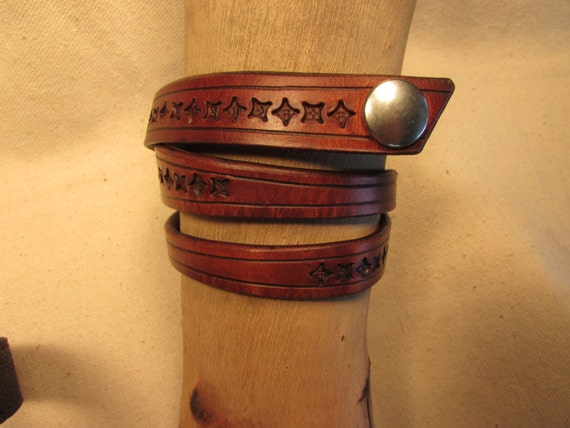 "Variable Width 3/8"" to 5/8', Triple Wrap, Tooled Leather Bracelet"