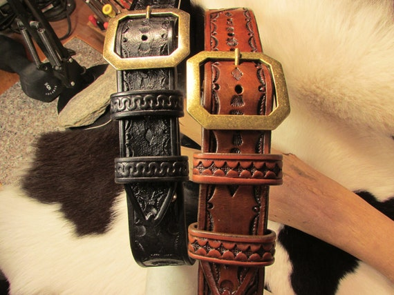 """A Pair of Hand-Tooled, 1.75"""" Wide, Heavy Leather Service Belts"""