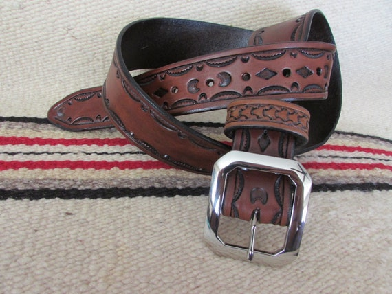 """1.75"""" Wide, Hand-Tooled Leather Belt w/ Border Pattern"""