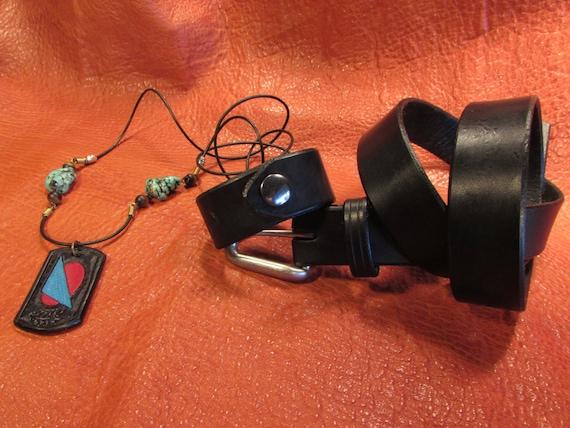 """1.25"""" Wide, Black Leather Belt, Bracelet and Pendant Set"""