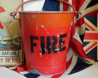 Vintage fire bucket, galvanised bucket, pail or planter. Zinc bucket. Zinc planter