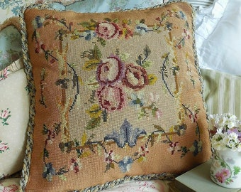 Superb vintage needlepoint cushion. Tapestry cushion. Hand-stitched