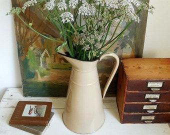 Large vintage French enamel jug, vintage enamel pitcher