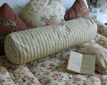 Vintage French ticking bolster cushion, ticking cushion
