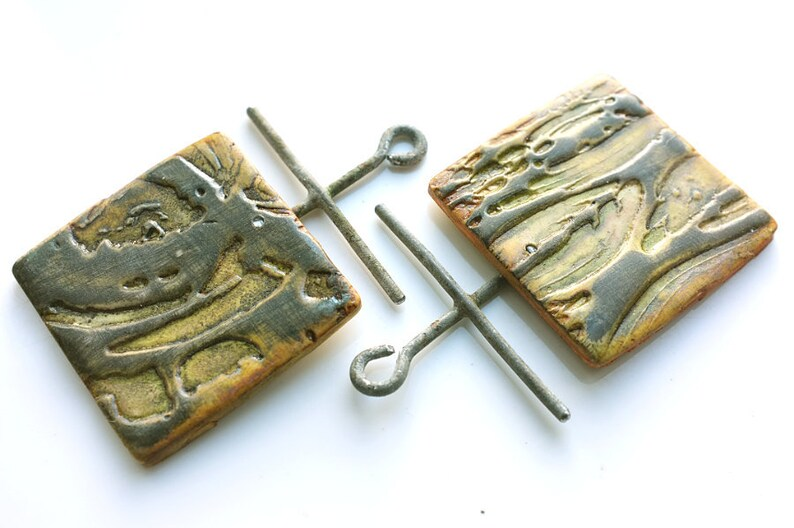 Textured Polymer clay and Upcycled wire Square Rustic green and black Ancient look Industrial Boho beads or charms in yellow 2 large