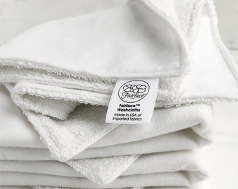 Best Dual Sided Washcloths and Facecloths for Sensitive Skin, Rosacea, Eczema, Try 1 or in sets - Soft side + scrubby side - Fairface™ Duals