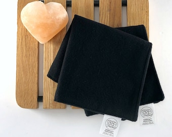 Soft Black Face Cloths - best dark washcloths for sensitive faces & gentle makeup removal -Sets of 2+ - double-sided flannel Fairface™ Darks