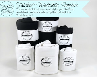 Try the softest washcloths and face cloths for sensitive skin - try them all or 1 of each - gentle, soothing cloths - Fairface™ Samplers