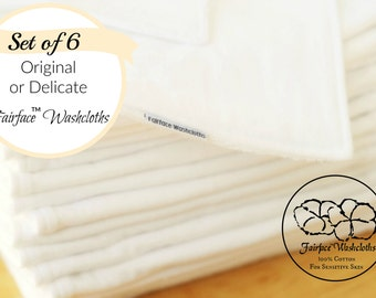 Best Face Cloths for Sensitive Skin & Rosacea, Psoriasis, Eczema - Set of 6 - Soft, Gentle, Calming 100% Cotton - Fairface™ Washcloths