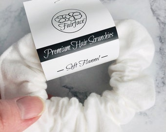 Soft Flannel Hair Scrunchies - Plush White Flannel - Smooth and Soft against your hair- Pony Tail Holder or Messy Bun - Pretty Hair Fairface