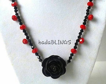 Swarovski black rose and red bead necklace, Swarovski necklace, rose necklace, black necklace, red necklace, Gothic jewelry