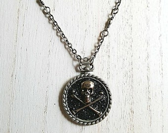 Skull and crossbones necklace, black glitter, pewter chain and setting, skull jewelry