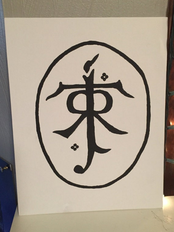 Jrr Tolkien Classic Symbol Painted Canvas Etsy
