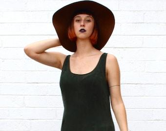 1990's Silky Dark Green Maxi Khaleesi Tank Top Dress