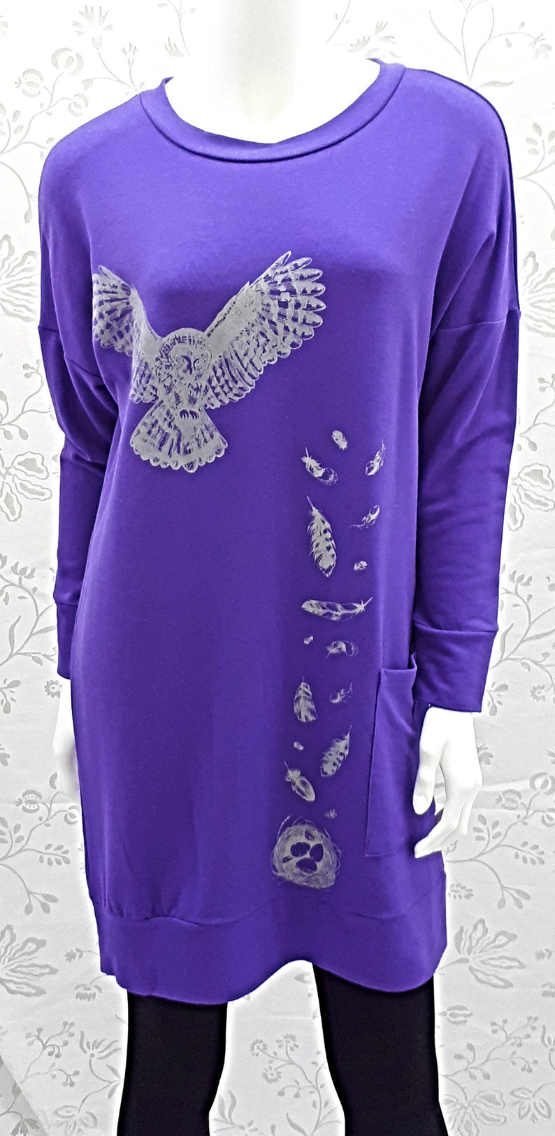 Bamboo Violet Clothing Made in Canada Design Longline Pachena Sweatshirt Fashion featuring OWL SPIRIT by PachenaClothing