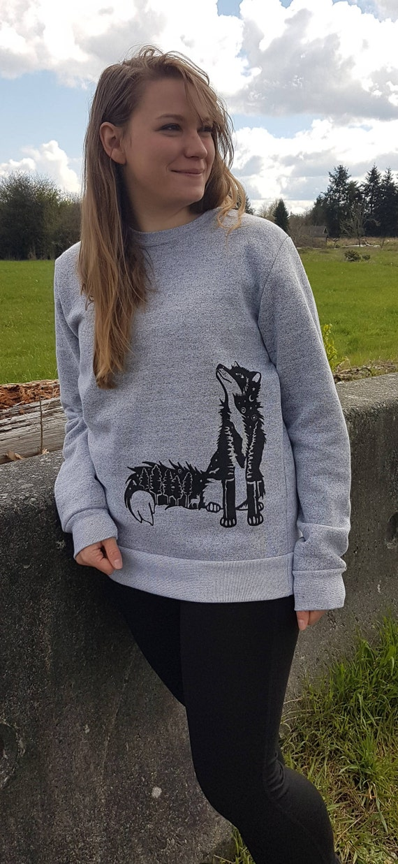 Pachena, Clothing, Fashion, Design, Heather, White, Sweatshirt featuring the in artwork STELLAR FOX by PachenaClothing, Made in the Canada, 72a110