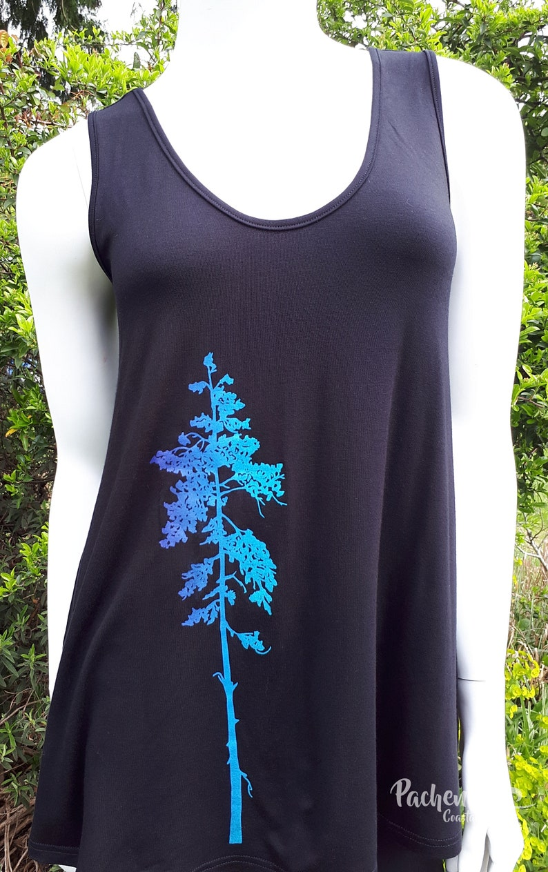 Fashion Pachena Bamboo Clothing Design Black featuring WEATHERED FIR by PachenaClothing Floaty Tank Made in Canada,