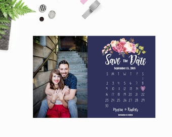 Floral Calendar Save The Date